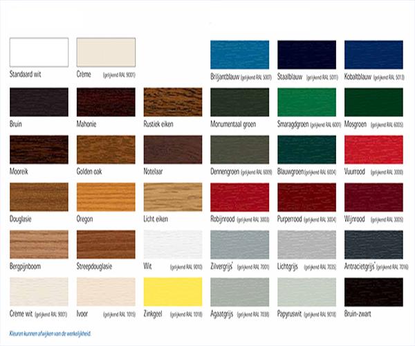 Schuco kleurenkaart